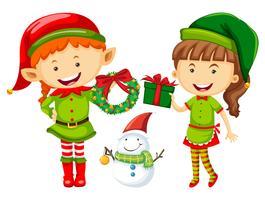 Elfe et femme avec des cadeaux de Noël vecteur