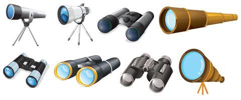 Différents modèles de télescopes vecteur