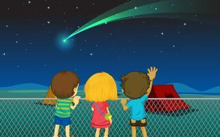 les enfants et la comète vecteur
