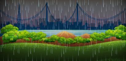 Scène de fond avec il pleut dans le parc
