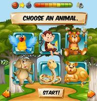Modèle de jeu avec des personnages d'animaux sauvages vecteur