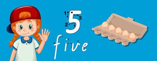 Numéro cinq feuilles de traçage