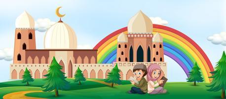 Garçon et fille lisant un livre sur fond de mosquée vecteur