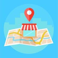 Bannière de référencement local, carte et boutique en vue réaliste. illustration plate