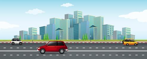 Conduire une voiture dans la grande ville vecteur