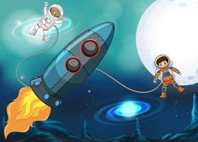 Vaisseau spatial et astronautes volant dans l'espace vecteur