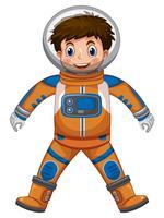 Garçon heureux en costume d'astronaute