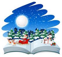 Livre ouvert thème de Noël vecteur