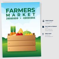 Modèle d'invitation à une affiche de marché de l'agriculteur vecteur