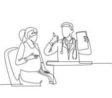 un dessin au trait d'un jeune médecin obstétricien heureux vérifiant la grossesse de la mère et indiquant un bon résultat à l'hôpital. concept de service de santé médicale. illustration vectorielle de ligne continue dessiner conception vecteur
