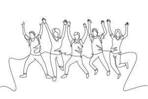 un groupe de dessin au trait de jeunes étudiants masculins et féminins heureux sautant pour célébrer leur résultat d'examen final. concept de célébration de l'éducation. illustration vectorielle de ligne continue dessiner conception vecteur