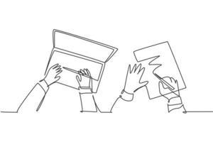 un dessin au trait continu de la saisie à la main sur le clavier de l'ordinateur portable et de la signature à la main du papier d'accord de contrat ensemble. concept de transaction commerciale. Illustration vectorielle graphique de conception de dessin de ligne unique moderne vecteur