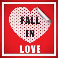 Modèle de carte Valentine avec mot tomber amoureux vecteur