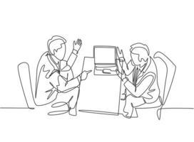 un dessin au trait unique de deux jeunes hommes d'affaires explorant de nouvelles affaires et discutant d'un accord pour fusionner leur entreprise. business deal concept ligne continue dessiner design graphique illustration vectorielle vecteur