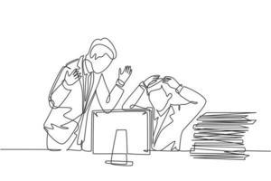 dessin au trait continu unique d'un jeune directeur furieux blâmant son personnel frustré pour le manque de rendement au travail. La pression de travail au concept de bureau une ligne dessiner illustration graphique vectorielle de conception vecteur