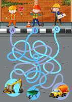 Modèle de jeu avec des travailleurs de la construction et des outils vecteur