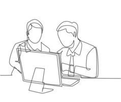dessin au trait continu unique de deux jeunes directeurs des ventes analyse le graphique de croissance des ventes sur écran avec le personnel de marketing. concept d'évaluation de la croissance des ventes une ligne dessiner illustration vectorielle de conception vecteur