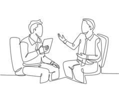 un dessin au trait continu de jeunes hommes d'affaires heureux discutant d'un nouveau projet avec un collègue lors de la réunion. Concept d'accord d'entreprise graphique à ligne unique dessiner illustration vectorielle vecteur