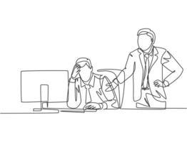 un dessin au trait continu d'un jeune manager en colère demandant à son personnel déprimé un travail inachevé. pression de travail au concept de bureau. illustration graphique de vecteur de conception de dessin de ligne unique à la mode