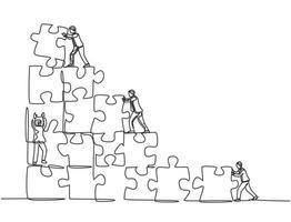 un dessin au trait unique de deux jeunes hommes d'affaires poussent et organisent des pièces de puzzle pour construire un bâtiment solide. concept de travail d'équipe d'entreprise à la mode ligne continue dessiner illustration vectorielle graphique vecteur
