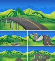 Cinq scènes de routes vides vers les montagnes