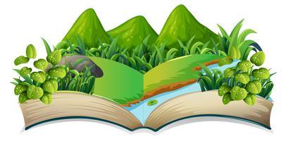 Thème de la nature livre ouvert isolé vecteur