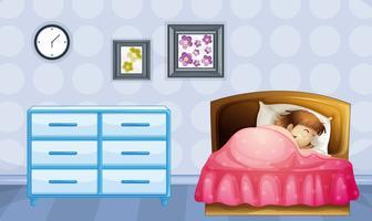 Une fille qui dort vecteur