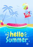 Bonjour conception de bannière de fête de l'été. Piscine dans le parc aquatique. Illustration de dessin animé de vecteur