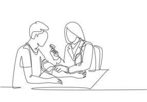 un dessin continu d'une jeune femme médecin vérifie la tension artérielle et le pouls du patient à l'hôpital. Contrôle médical concept de soins de santé ligne unique dessiner illustration vectorielle de conception vecteur