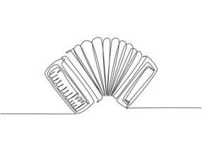 un dessin au trait continu d'accordéon classique. Concept d'instruments de musique dynamique ligne unique dessiner illustration graphique vectorielle de conception vecteur
