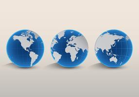Ensemble de cartes 3D Globe International vecteur