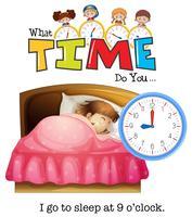 Une fille dort à 9 heures vecteur
