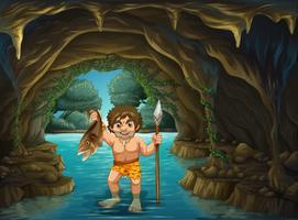 Homme des cavernes et poisson