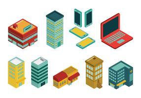Ensemble et atout de bâtiments industriels isométriques