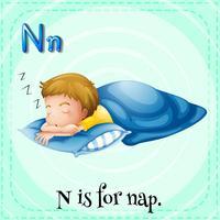 Flashcard lettre N est pour la sieste