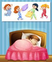 Fille dormant dans son lit vecteur
