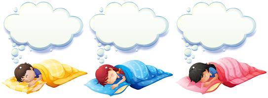 Garçon et fille dormant sous la couverture vecteur