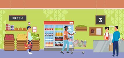 Magasin de supermarché intérieur avec caissier et acheteur de caractère. Illustration de plat Vector