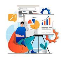 concept d'analyse de référencement dans un design plat moderne. l'homme analyse les résultats de la recherche, travaille avec des données et fait un rapport à l'aide d'un ordinateur portable. stratégie de promotion du développement et augmente le classement des sites. illustration vectorielle vecteur
