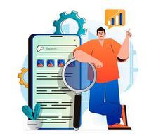 concept d'analyse de référencement dans un design plat moderne. man analyse les résultats de recherche et le classement des sites, développe une stratégie de promotion, optimise les mots-clés, augmente le trafic et travaille avec les données. illustration vectorielle vecteur