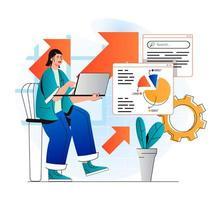 concept d'analyse de référencement dans un design plat moderne. femme analyse les résultats de la recherche et travaille avec des données infographiques. le spécialiste du marketing développe une stratégie de promotion et augmente le classement des sites. illustration vectorielle vecteur