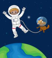 Astronaute et chien voyagent dans l'espace vecteur