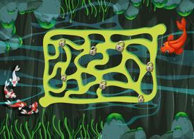 Modèle de jeu avec des poissons nageant dans l'étang