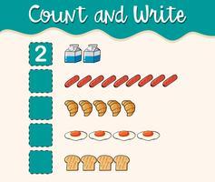Comptez et écrivez avec différents types d'aliments vecteur