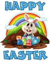 Un joyeux lapin de Pâques et des œufs vecteur
