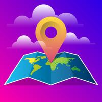 Modèle de vecteur de carte monde avec broche icône Illustration