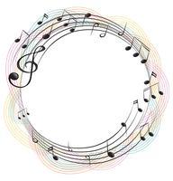 Notes de musique sur cadre rond vecteur