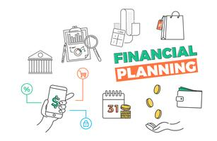 Bannière de planification financière. App pour votre budget, vos opérations bancaires, vos dettes. Illustration d'art de ligne vectorielle vecteur