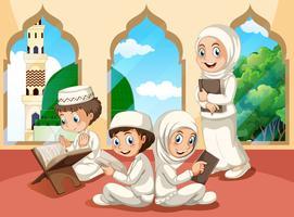 Groupe d'enfants musulmans à la mosquée vecteur