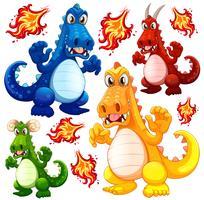 Ensemble de dragon en colère vecteur